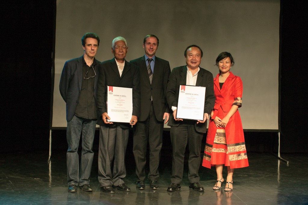 Paris, France. 24/05/2011. Vann Nath and Rithy Panh recieve Doctor Honoris Causa at University Paris 8.